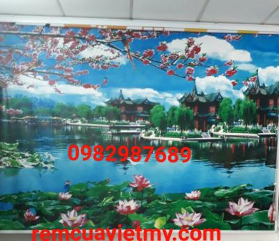 Rèm cuốn tranh hoa H82