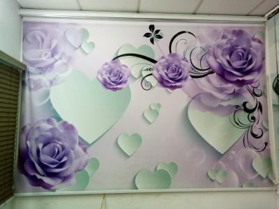Rèm cuốn tranh hoa hồng tím