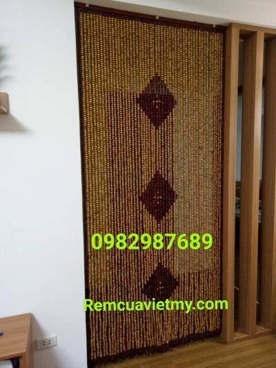 Rèm hạt gỗ pơmu kết hợp gỗ hương