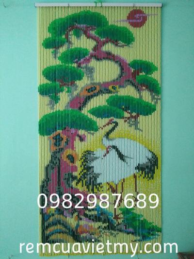 Rèm hạt nhựa kết tranh cây cổ thụ, con hạc K4