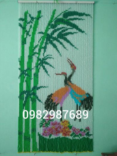 Rèm hạt nhựa kết tranh cây tre,con hac K3