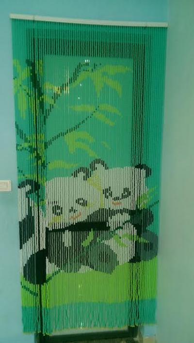 Rèm hạt nhựa kết tranh con Gấu