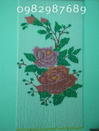 Rèm hạt nhựa kết tranh hình hoa hồng