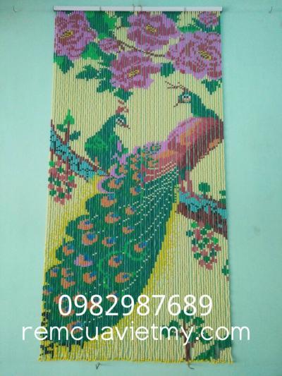 Rèm hạt nhựa kết tranh hoa, đôi công A1